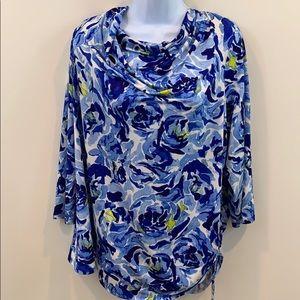 Dana Buchman Blue Floral Shirt w/ Cinched Side 2X
